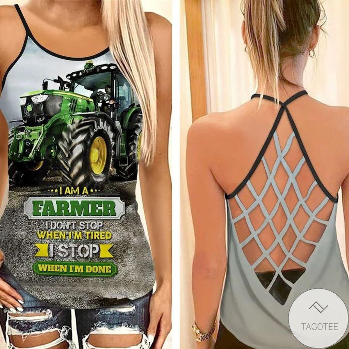 John Deere Tractor I'm A Farmer I Don't Stop When I'm Tired Criss Cross Tank Top