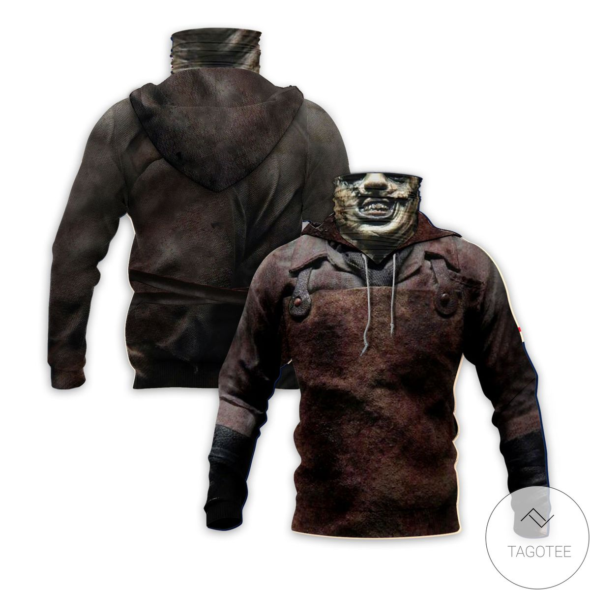 Leather Face Horror Movie Character Mask Hoodie