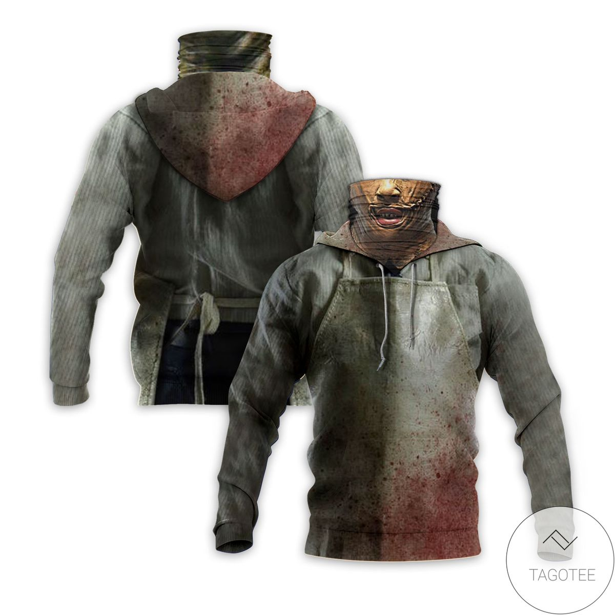 Leather Face Horror Movie Halloween Mask Hoodie