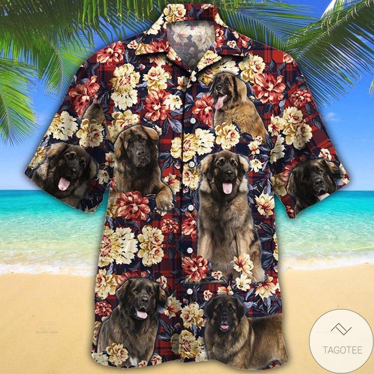 Leonberger Dog Lovers Red Plaid Pattern Hawaiian Shirt