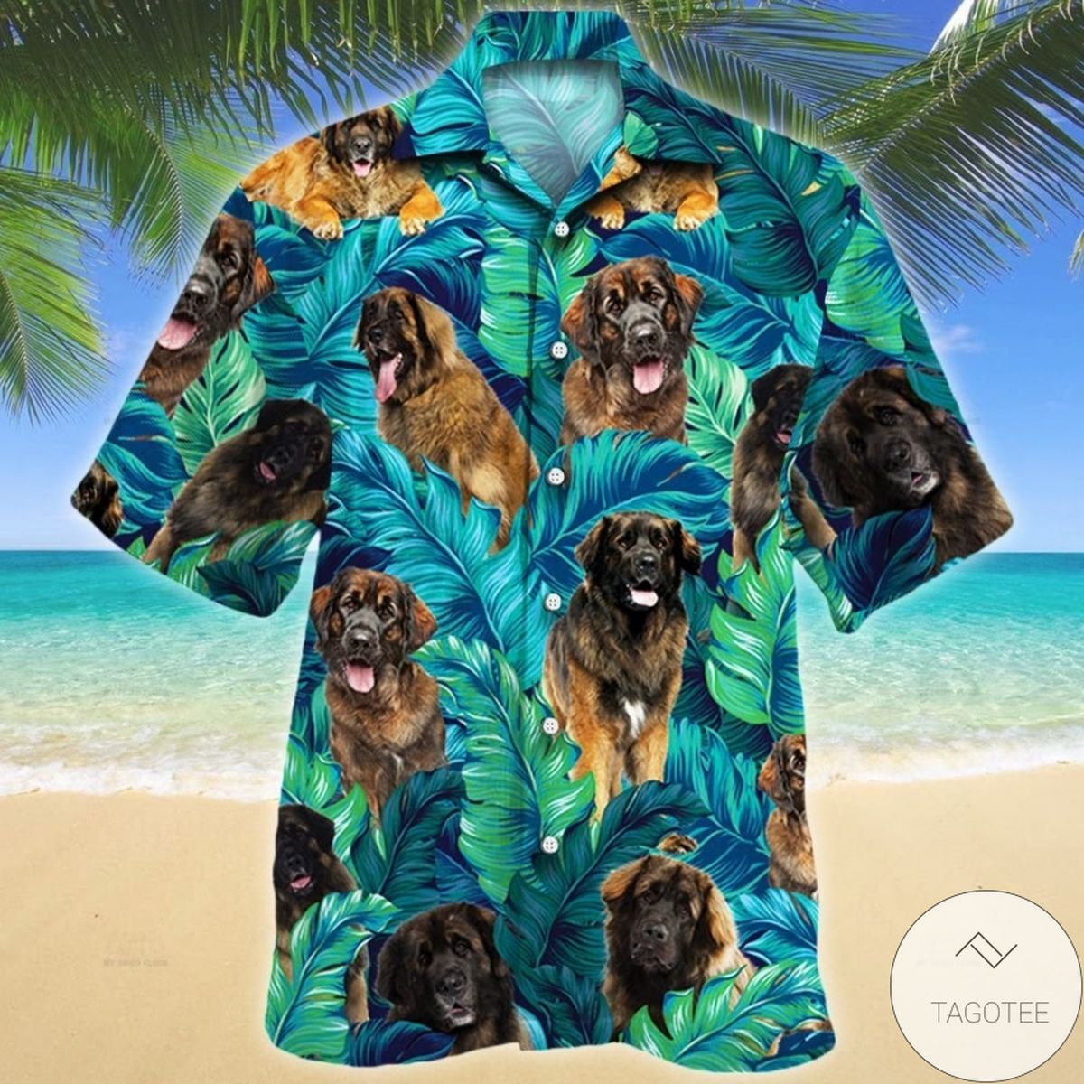 Leonberger Dog Tropical Hawaiian Shirt