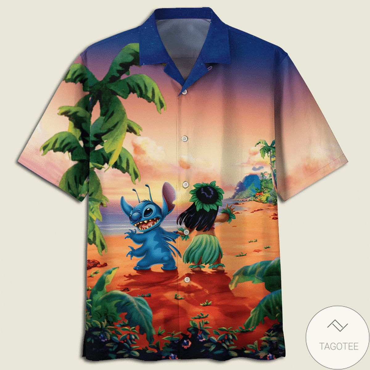 Lilo And Stitch Dancing On The Beach Hawaiian Shirt