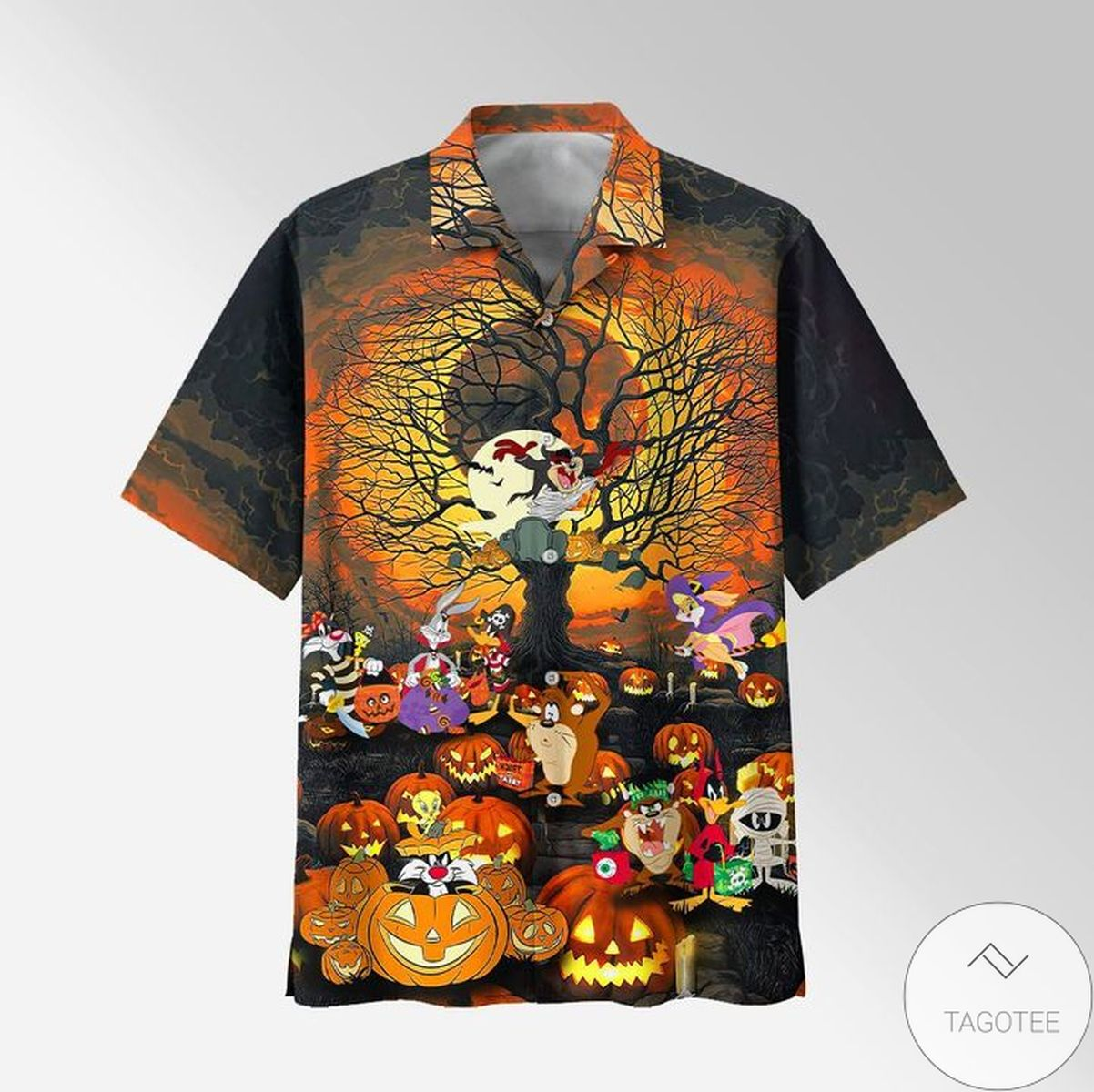 Looney Tunes, Bugs Bunny, Daffy Duck, Tweety, Sylvester, Yosemite Sam Pumpkin Halloween Cartoon Hawaiian Shirt