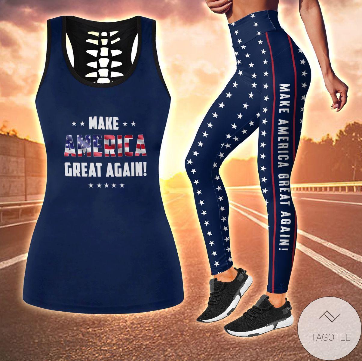Make America Great Again Combo Hollow Tank Top & Leggings