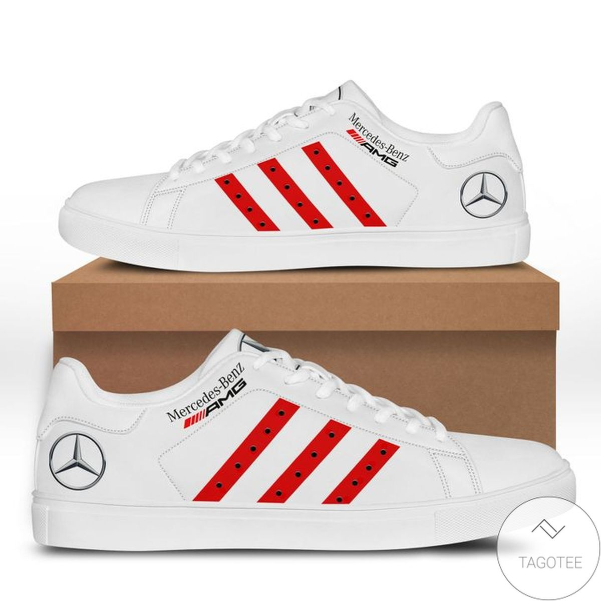 Mercedes White Red Stan Smith Shoes