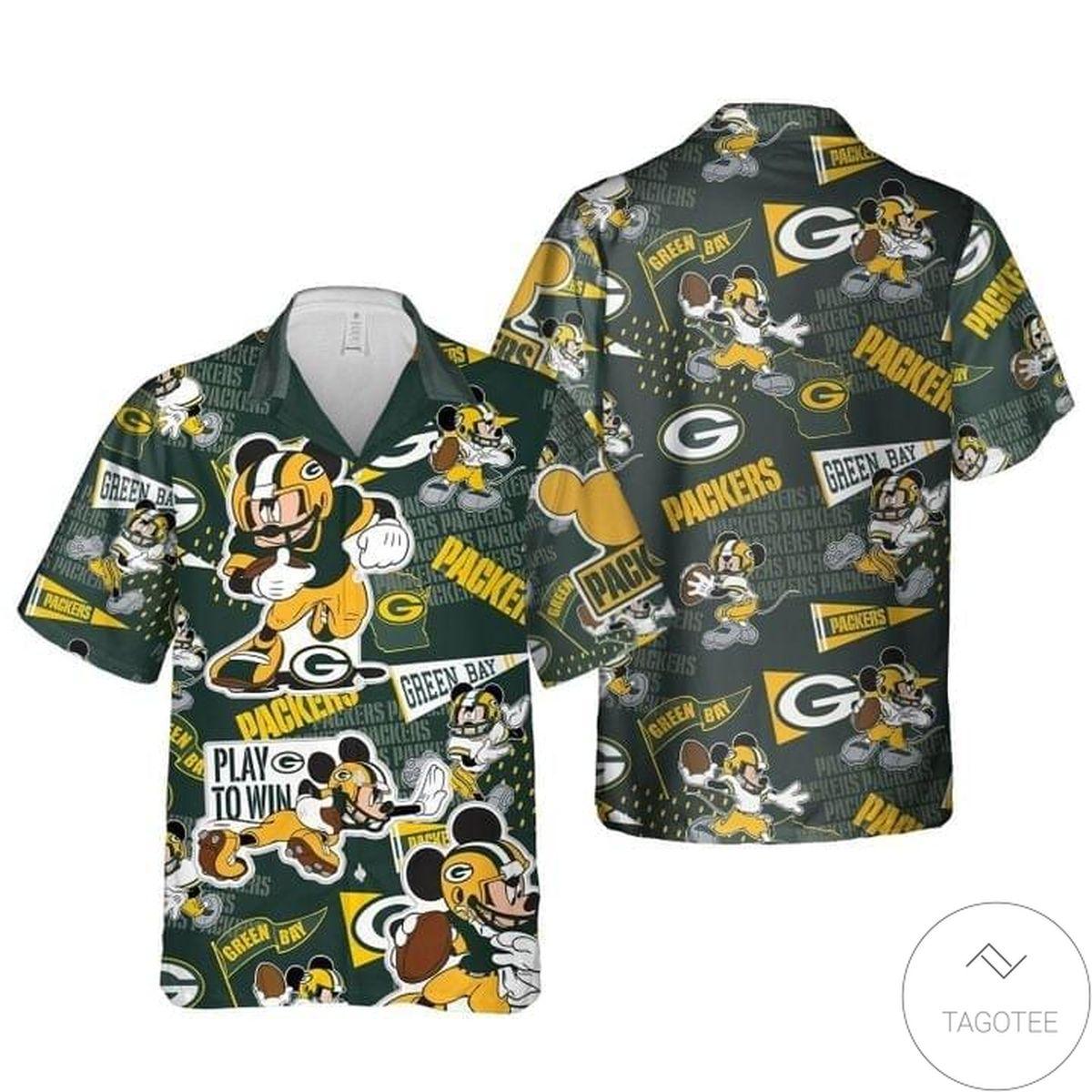 Mickey Mouse Green Bay Packer Play To Win Hawaiian Shirt