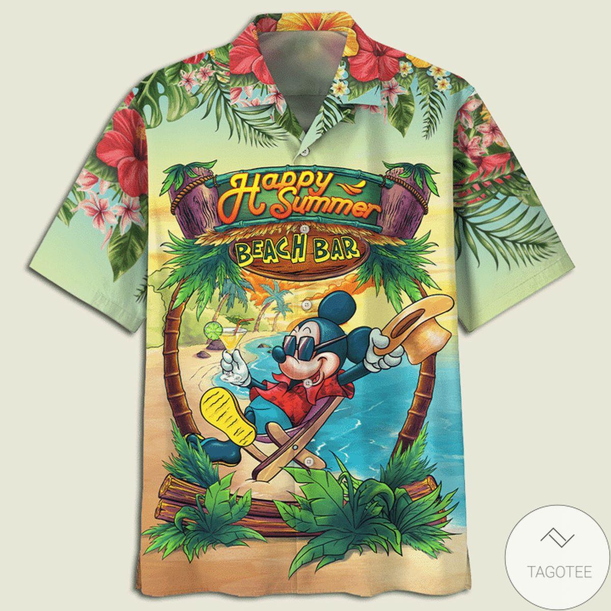 Mickey Mouse Happy Summer Beach Bar Hawaiian Shirt