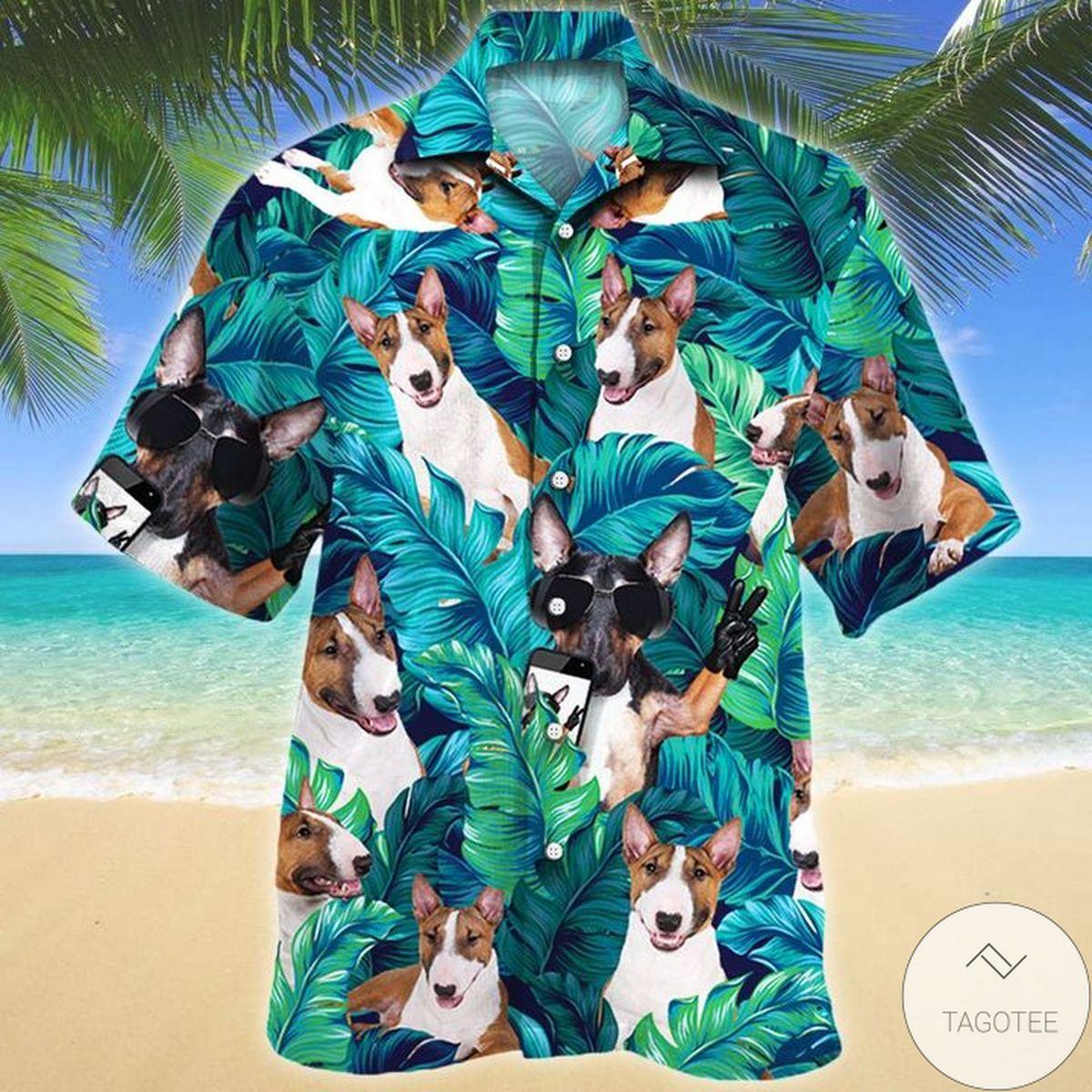 Miniature Bull Terrier Dog Lovers Hawaiian Shirt