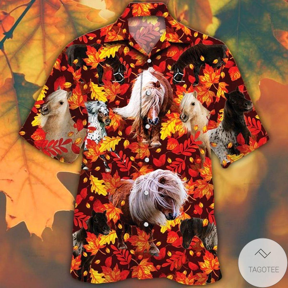Miniature Horse Lovers Autumn Red Leaves Hawaiian Shirt