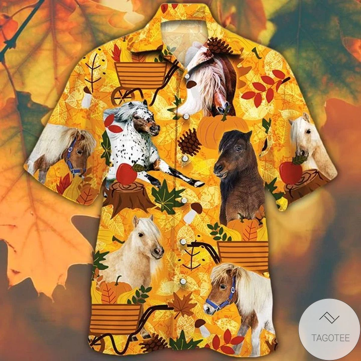 Miniature Horse Lovers Orange Nature Autumn Hawaiian Shirt