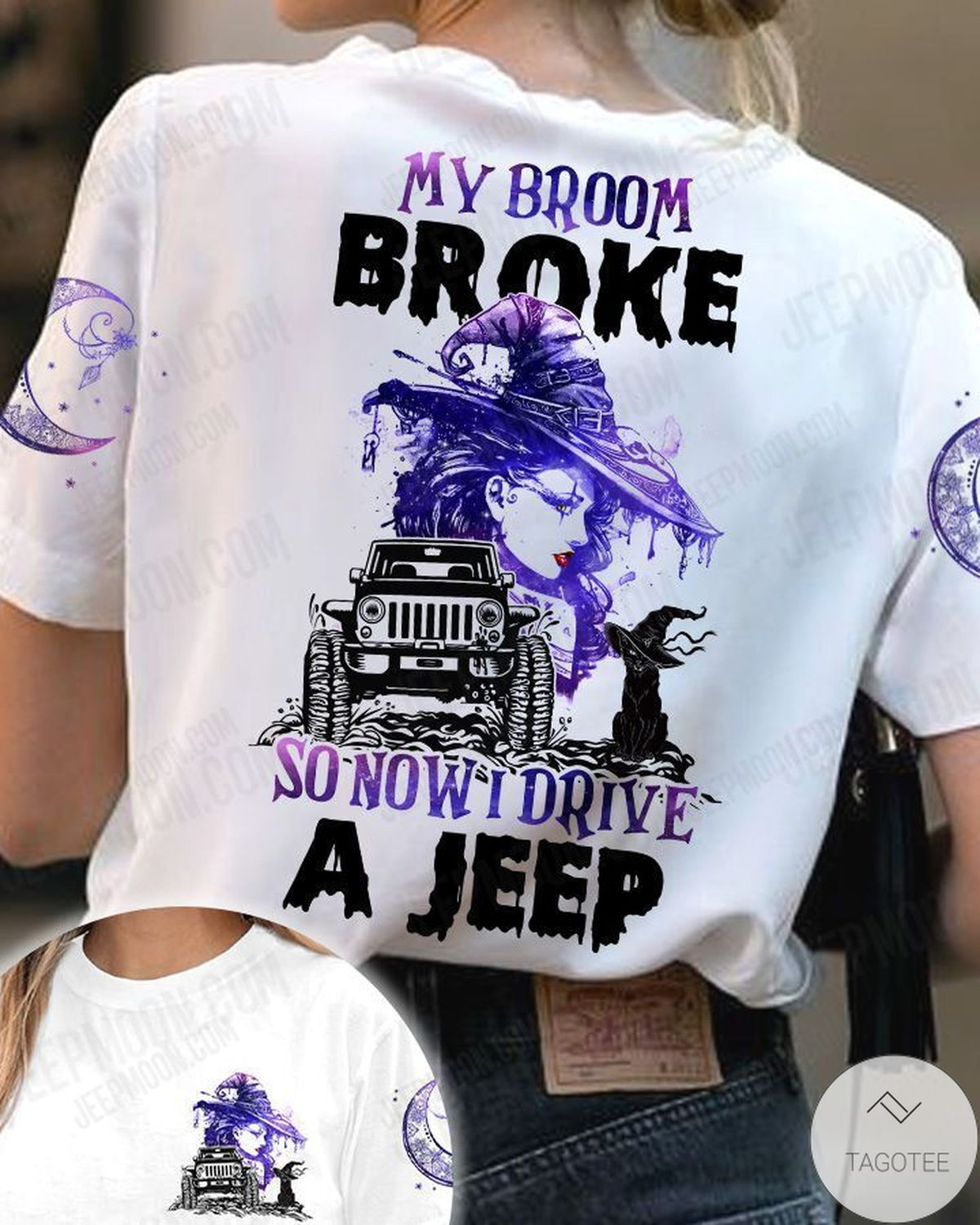 Absolutely Love My Broom Broke So Now I Drive A Jeep Witch And Cat T-Shirt