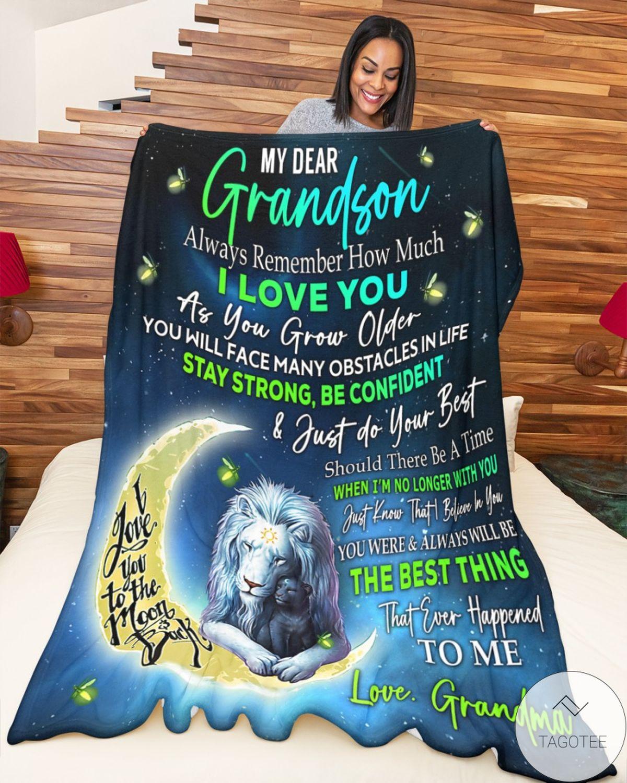 Real My Dear Grandson Love Grandma Blanket