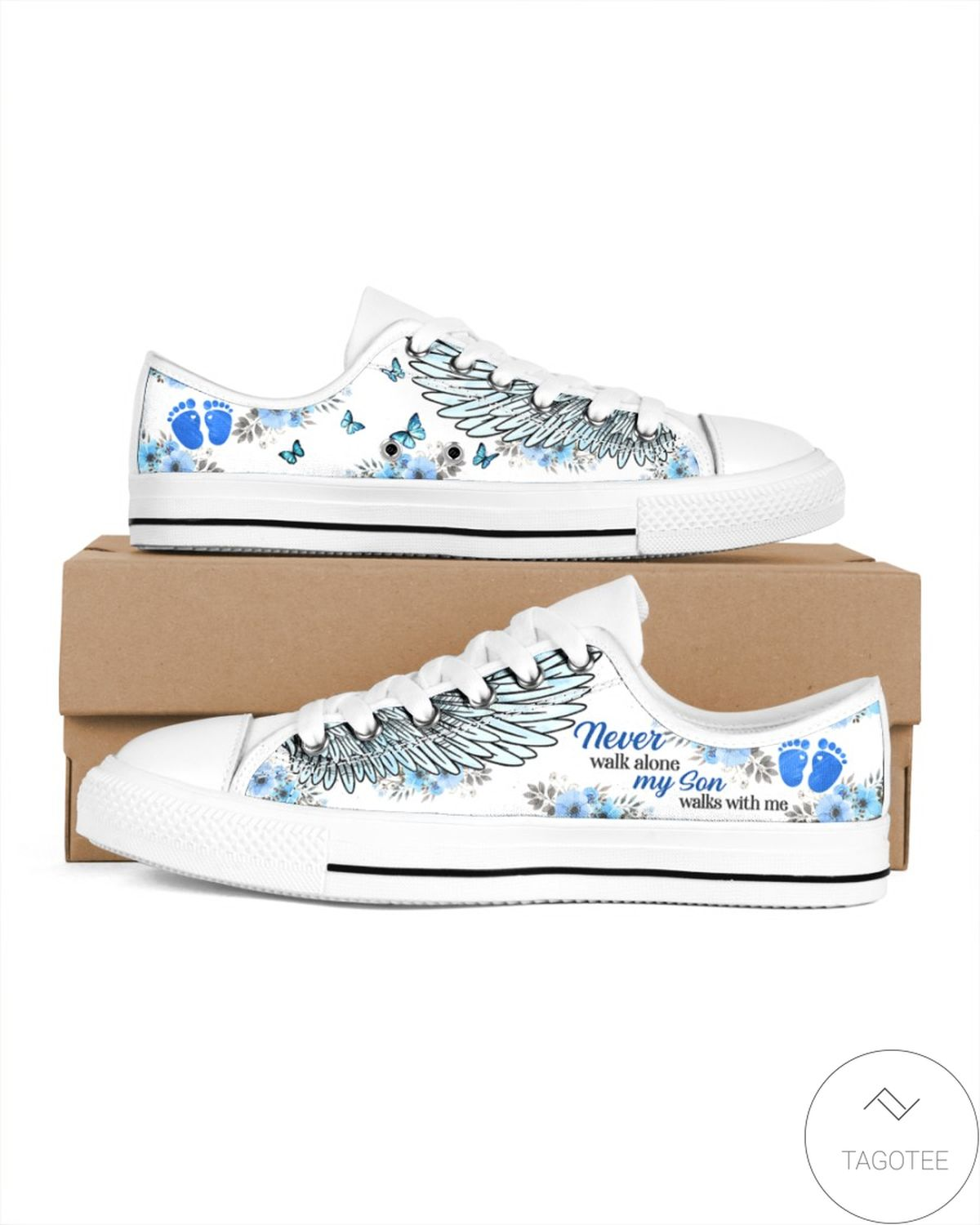 All Over Print My Son Walks With Me Men's Low Top Shoes