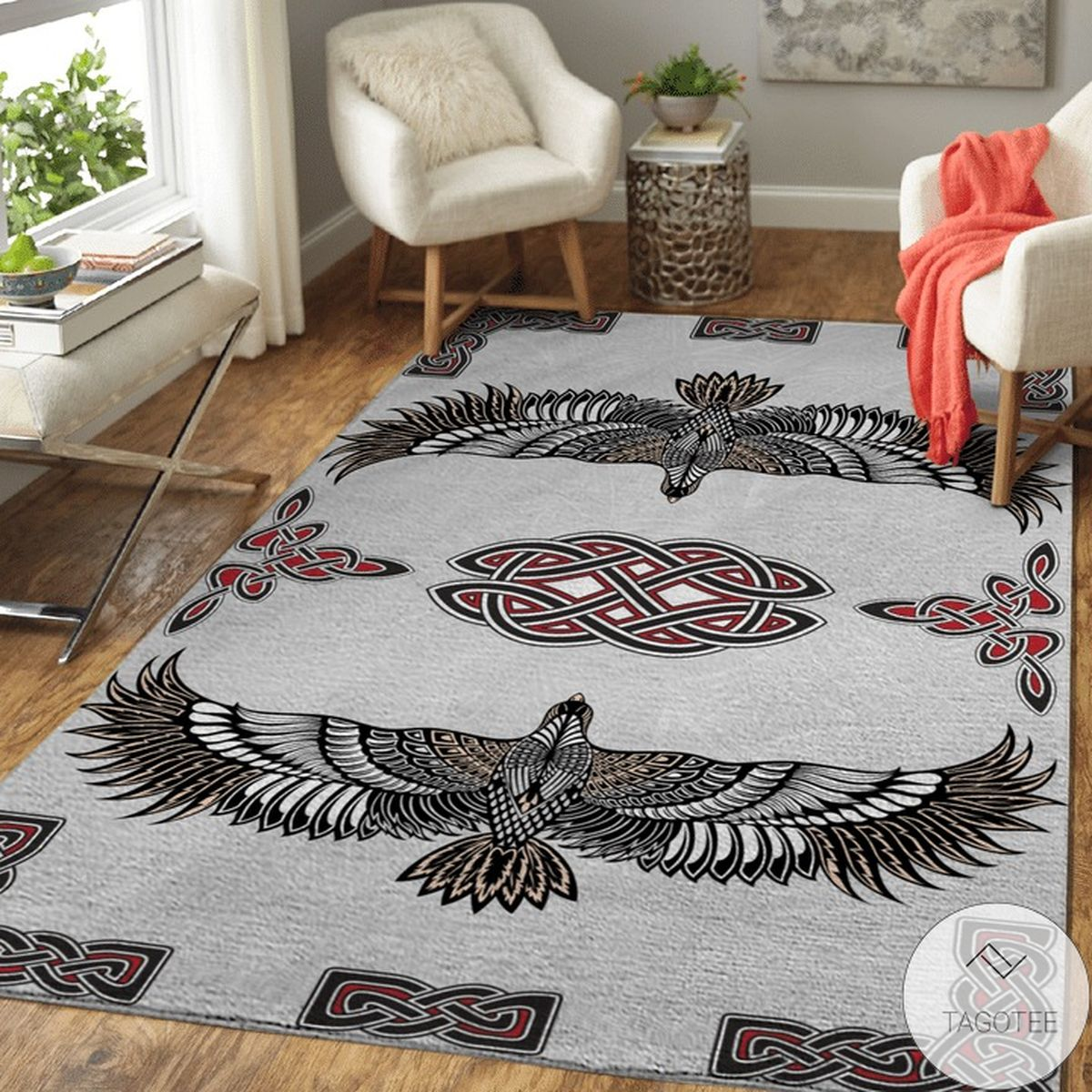 Norse Pattern And Raven Viking Area Rug