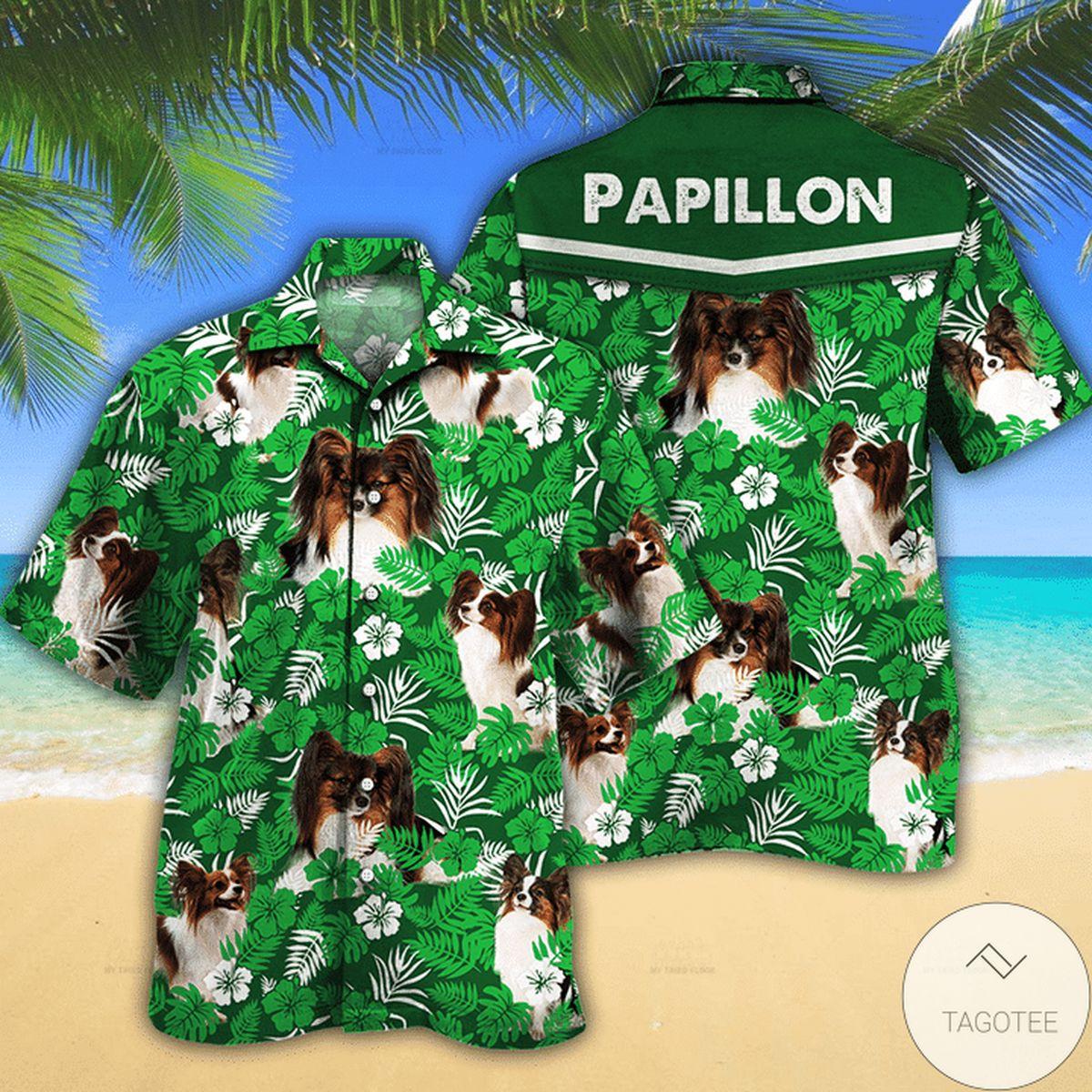 Top Selling Papillon Dog Lovers Green Floral Pattern Hawaiian Shirt