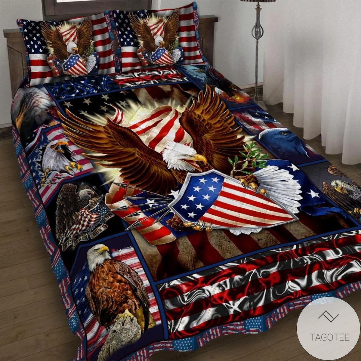 Father's Day Gift Patriotic Eagle Quilt Bedding Set