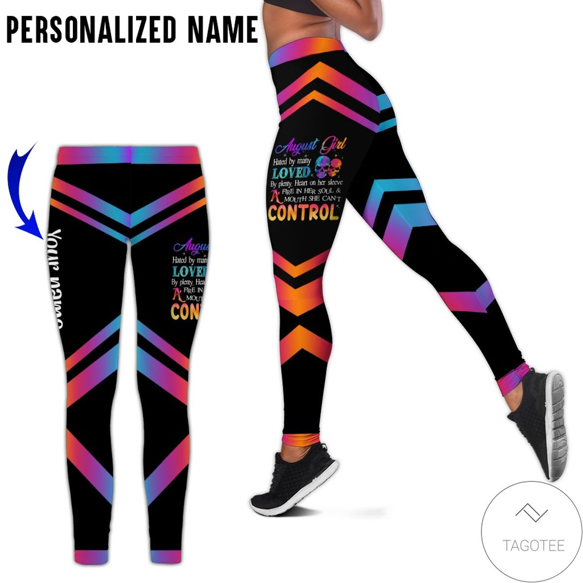 Personalized August Girl Hated By Many A Fire In Her Soul And Mouth She Can't Control Leggings