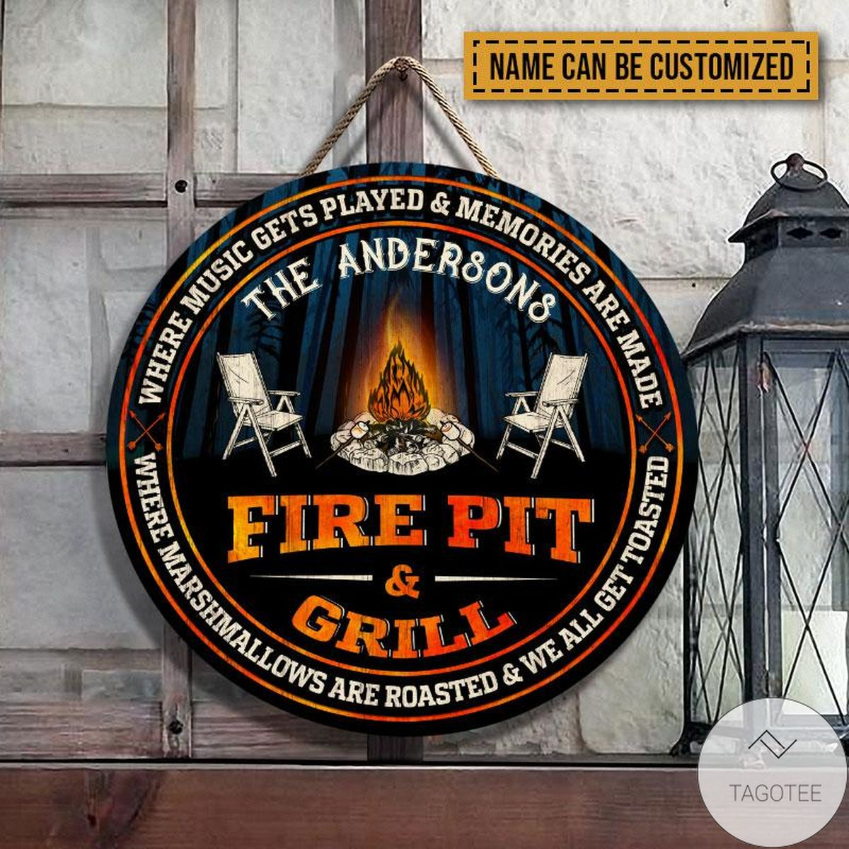 Free Personalized Camping Fire Pit & Grill Get Toasted Wood Circle Sign