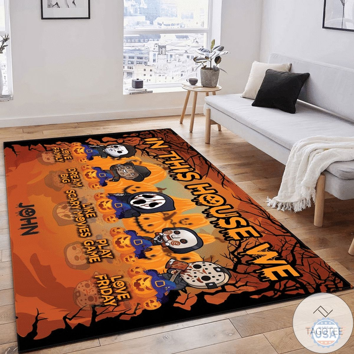 Vibrant Personalized Chibi Halloween Horror Characters Rug