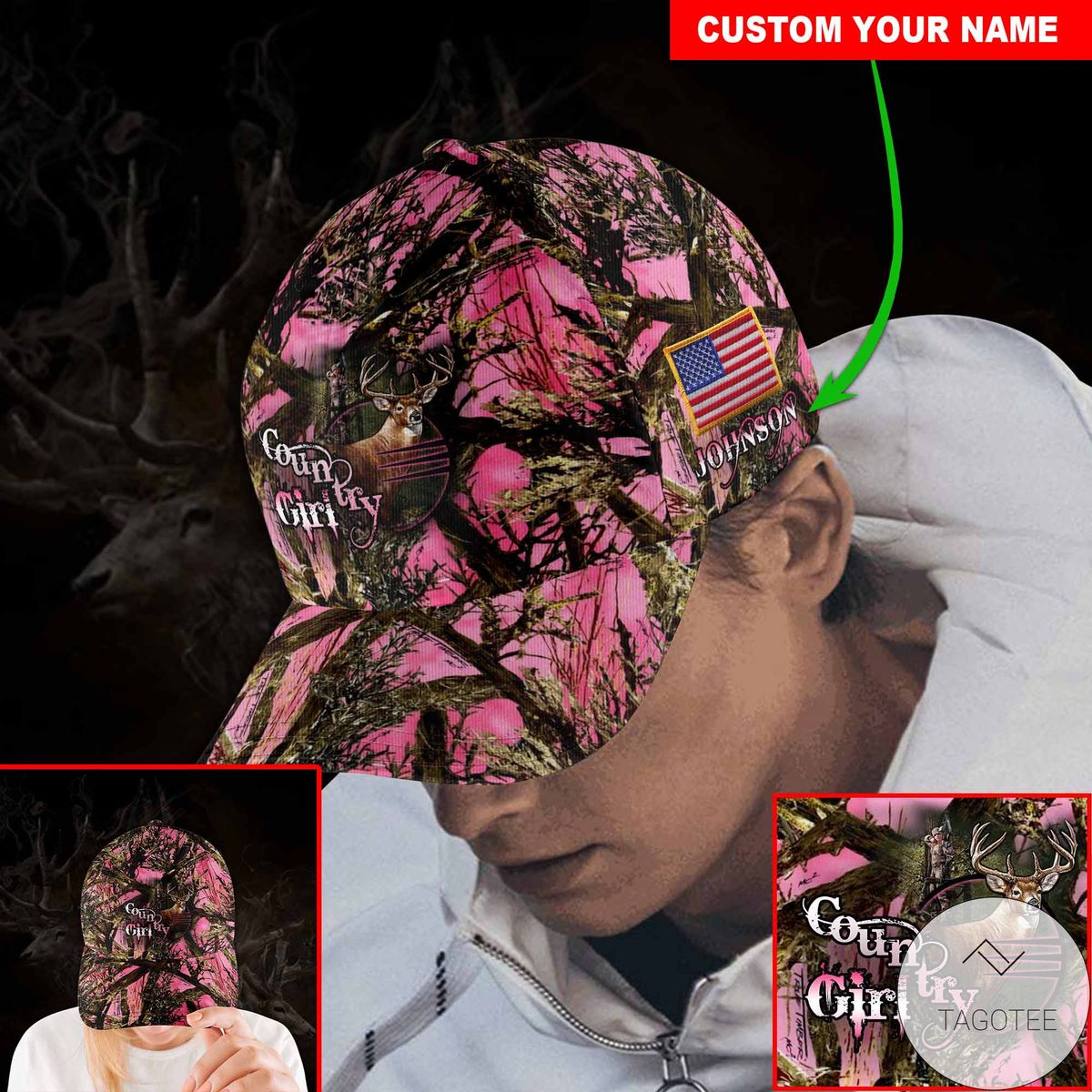 Nice Personalized Country Girl Pink Cap