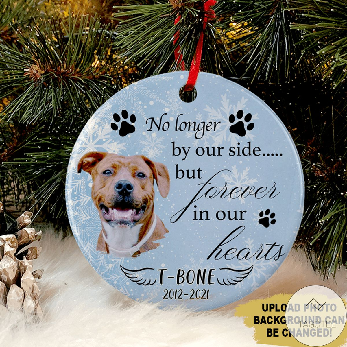 Personalized Dog Pet No Longer By Our Side But Forever In Our Heart Circle Ornament