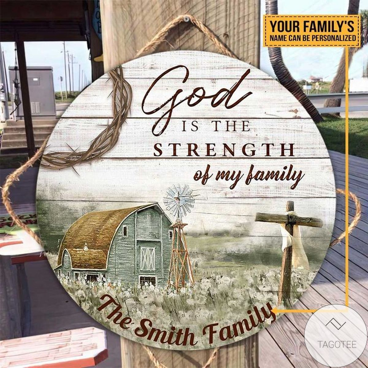 Discount Personalized God Is The Strength Of My Family Jesus Christian Round Wood Sign