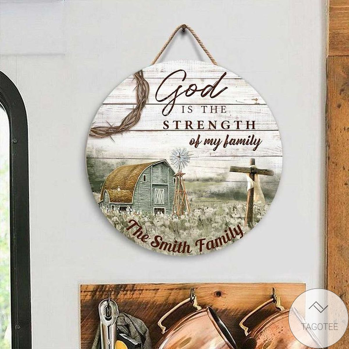 Mother's Day Gift Personalized God Is The Strength Of My Family Jesus Christian Round Wood Sign