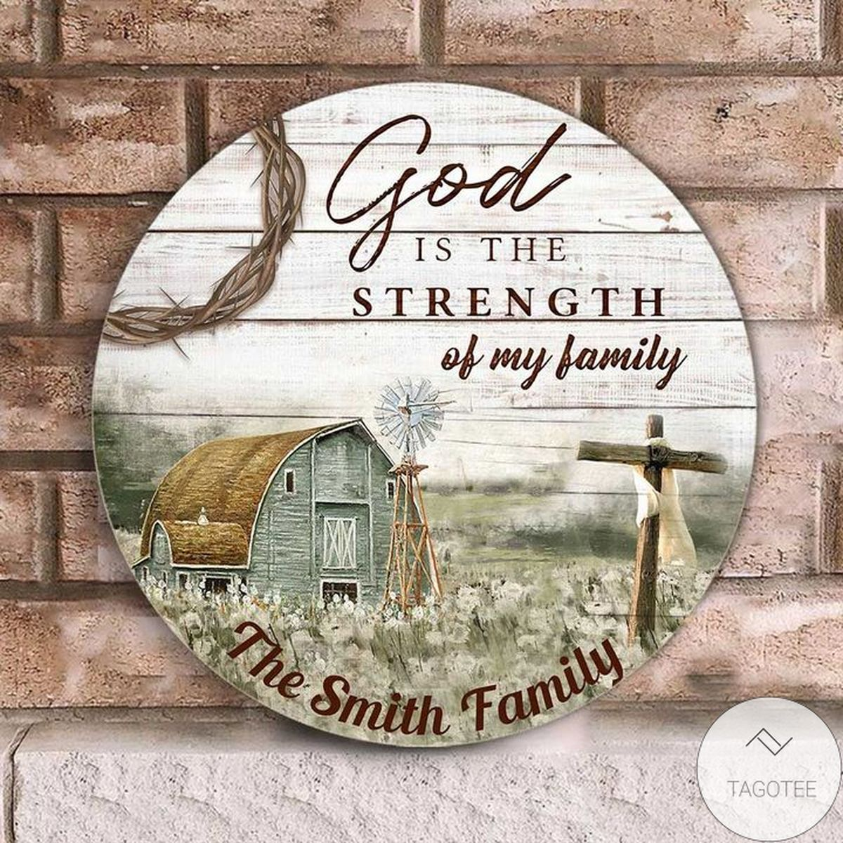 Official Personalized God Is The Strength Of My Family Jesus Christian Round Wood Sign