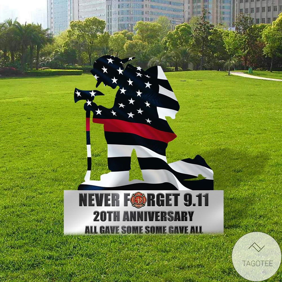 Personalized Kneeling Firefighter Never Forget 9.11 Metal Wall Art Yard Sign