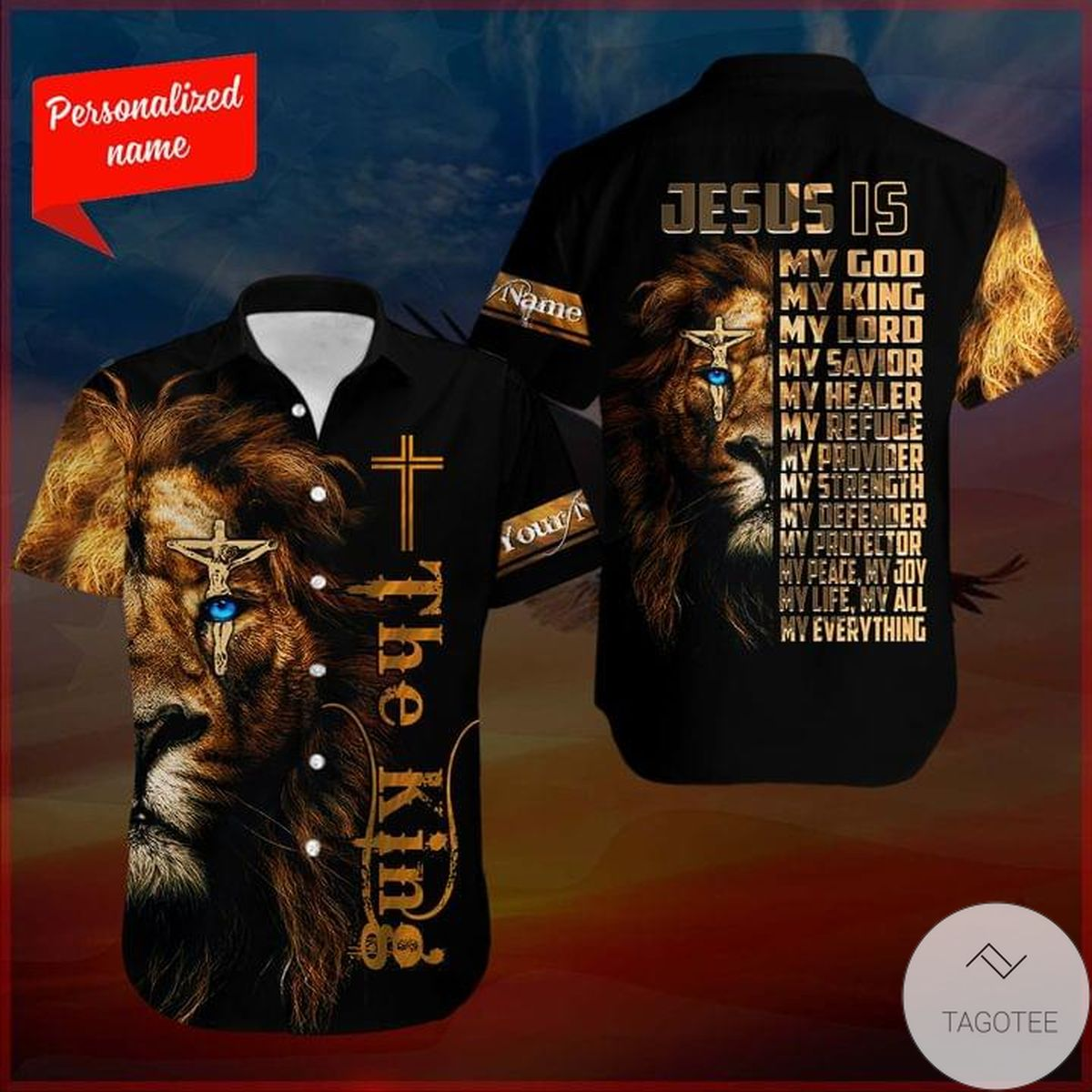 Personalized Lion The King Jesus Is My God My King My Lord Hawaiian Shirt