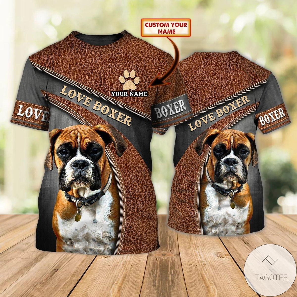 Personalized Love Boxer Dog As Leather T-Shirt