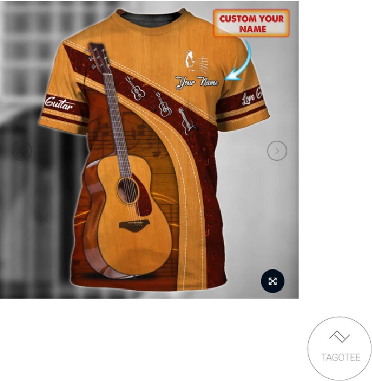Free Ship Personalized Love Guitar T-Shirt