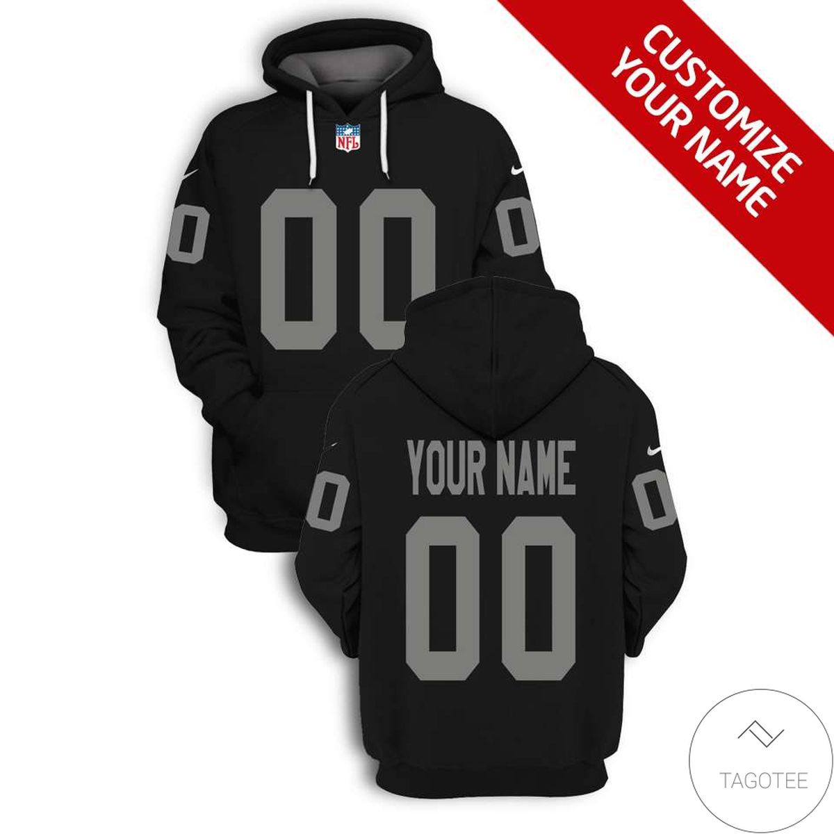 3D Personalized Name And Number Black NFL Football Team 3D All Over Print Hoodie