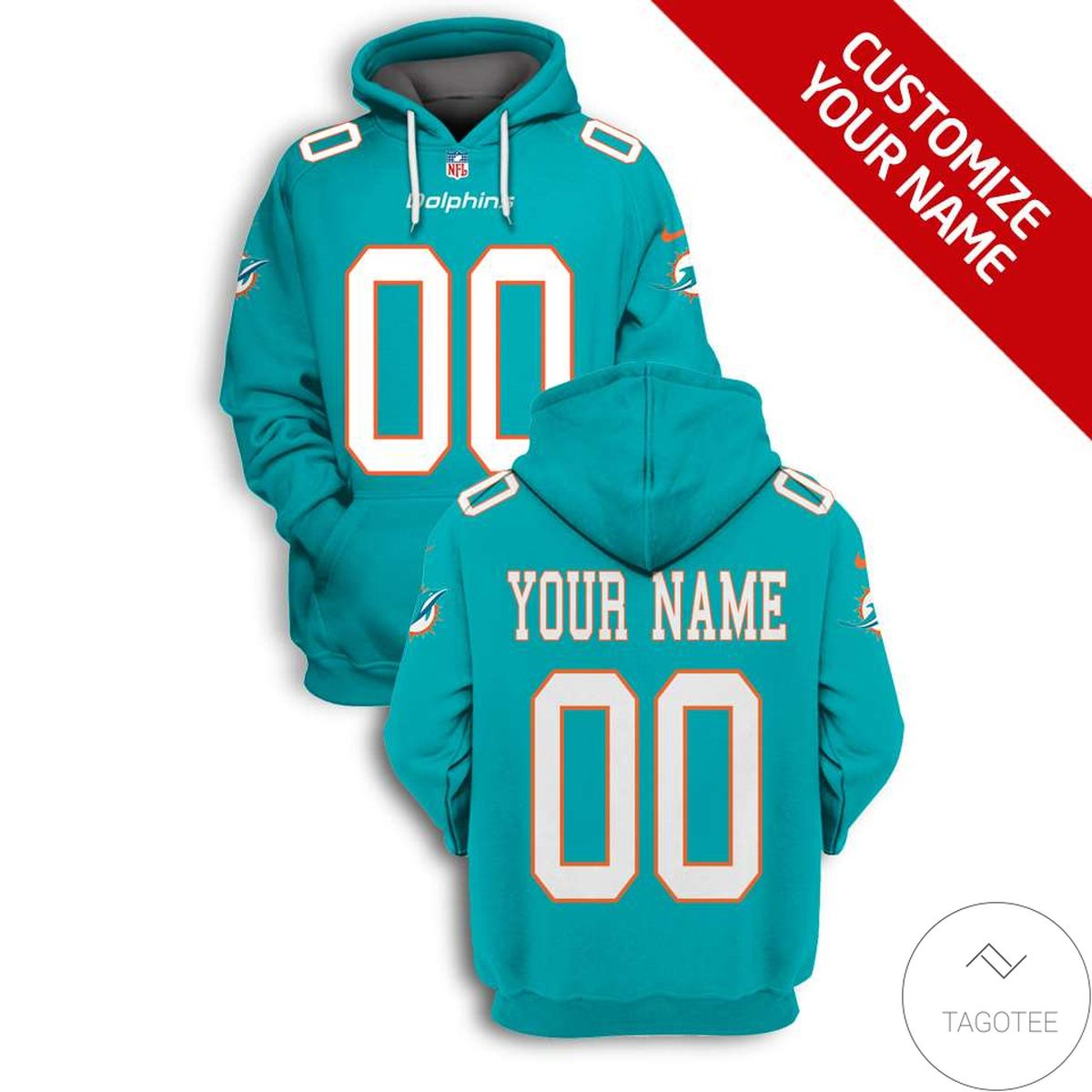 Best Personalized Name And Number Miami Dolphins 3D All Over Print Hoodie