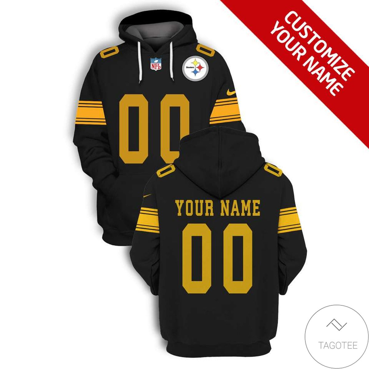 Top Personalized Name And Number Pittsburgh Steelers 3D All Over Print Hoodie