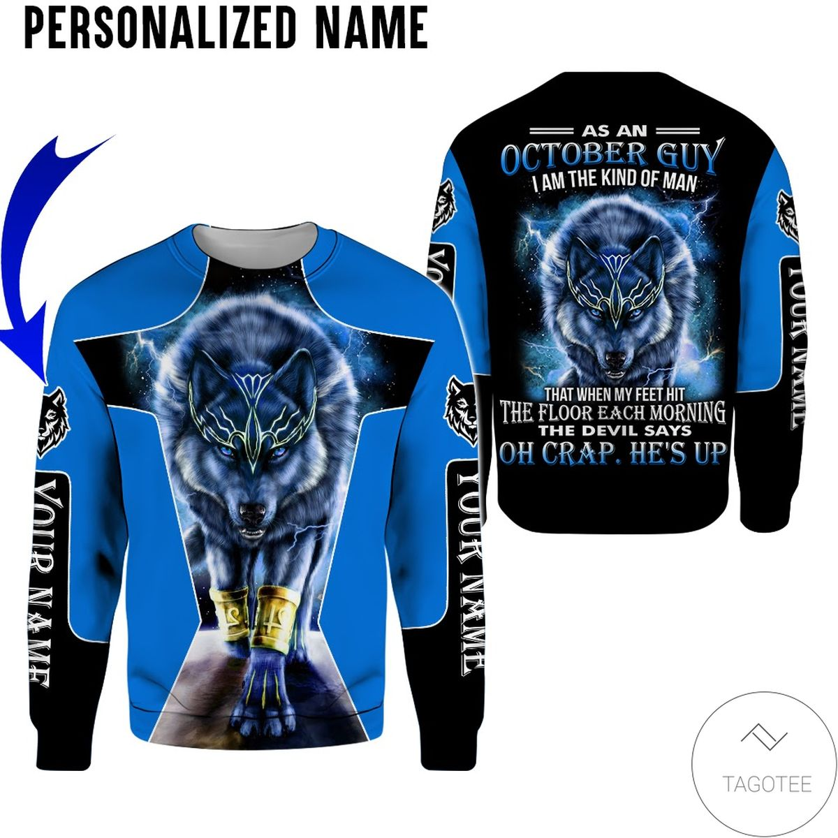 Discount Personalized Name As An October Guy I Am A Kind Of Man Wolf All Over Print Hoodie