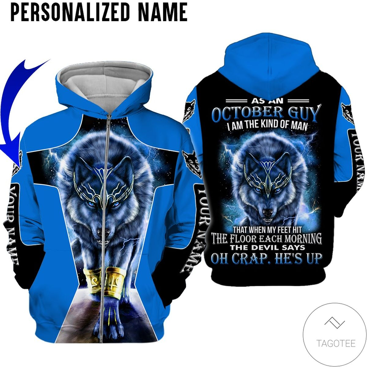 Buy In US Personalized Name As An October Guy I Am A Kind Of Man Wolf All Over Print Hoodie