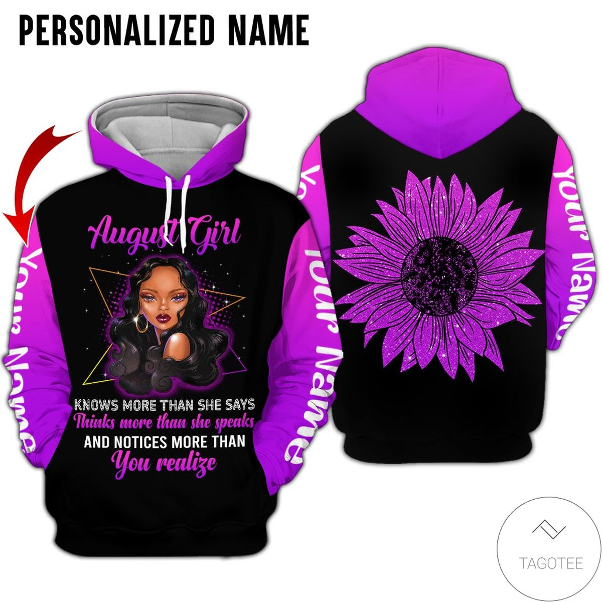 Personalized Name August Girl Know More Than She Says All Over Print Hoodie