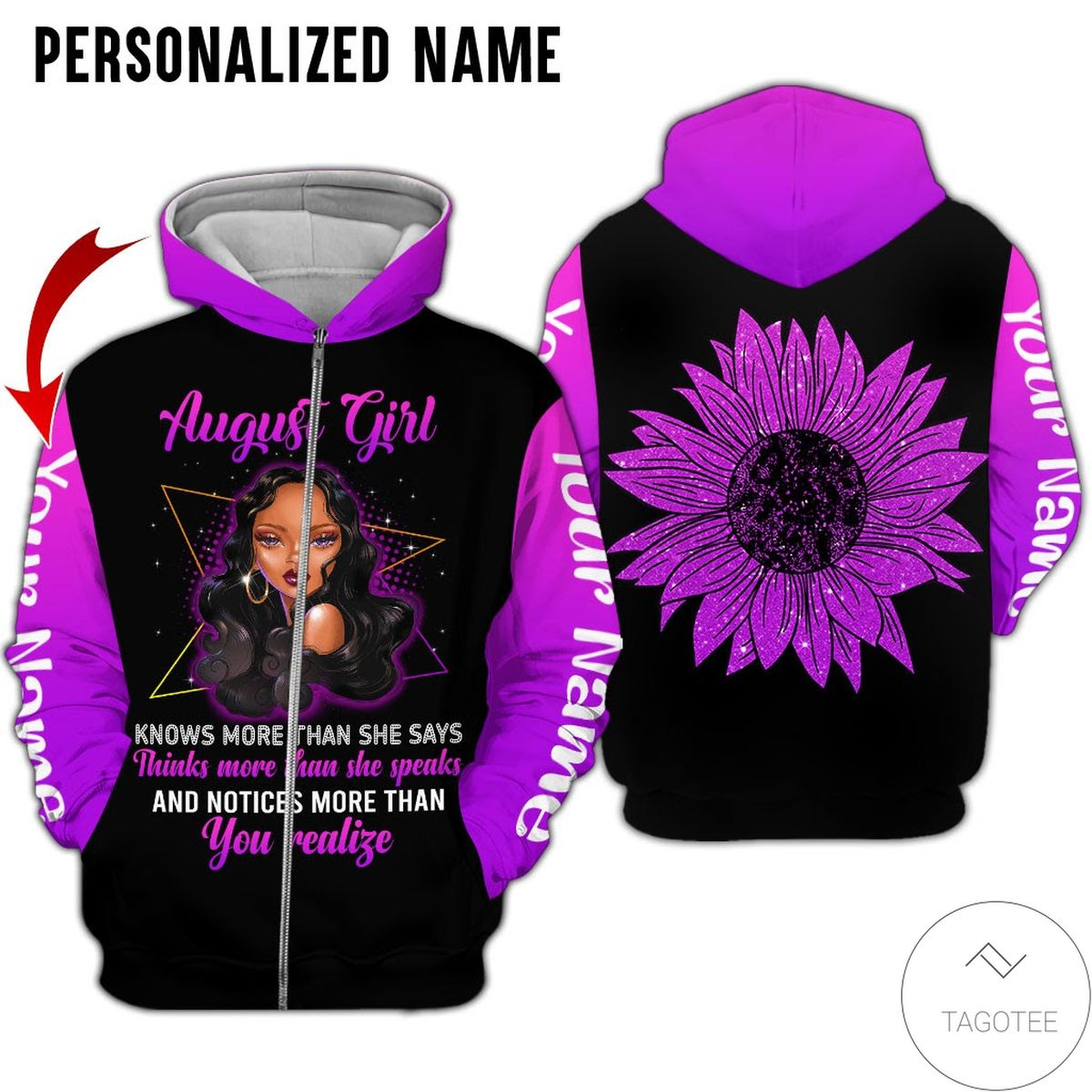 Personalized Name August Girl Know More Than She Says All Over Print Hoodiec