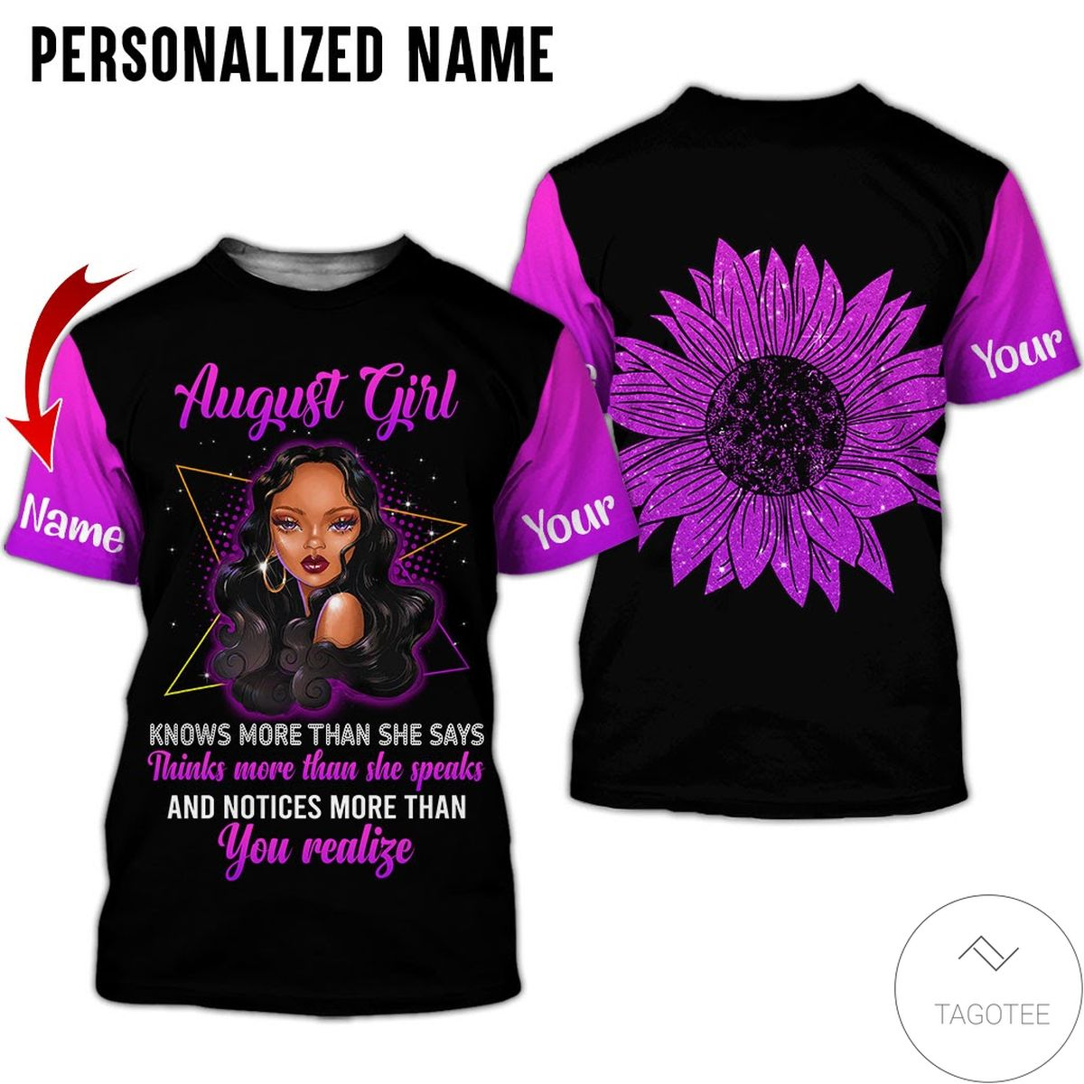 Personalized Name August Girl Know More Than She Says All Over Print Hoodiez