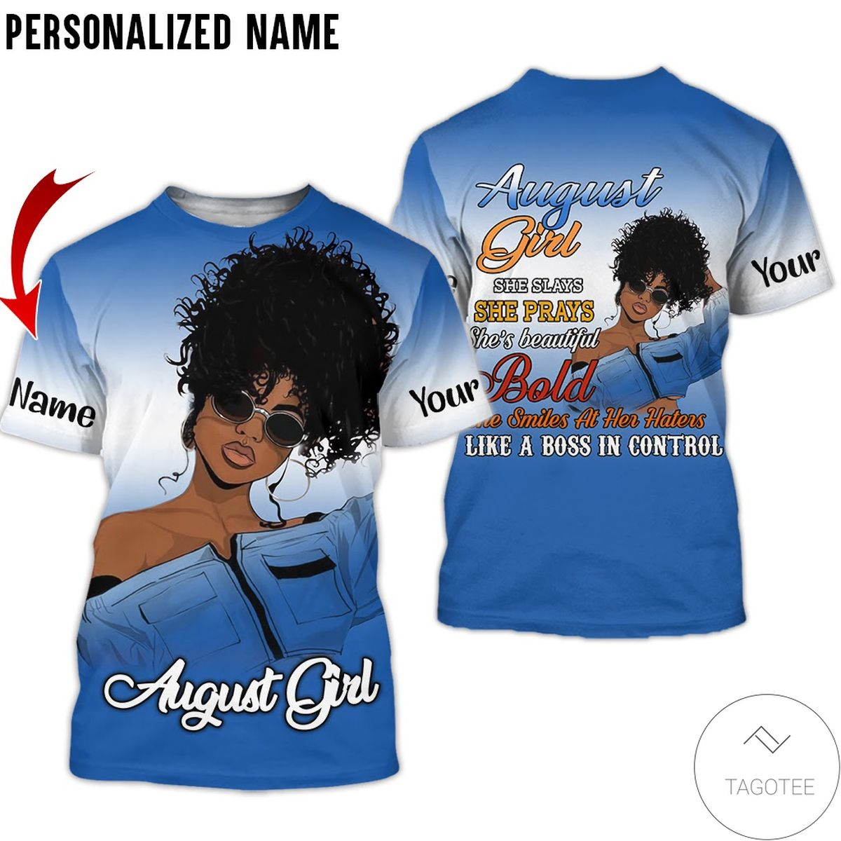 Personalized Name August Girl She Slay She Pray She Beautiful All Over Print Hoodie