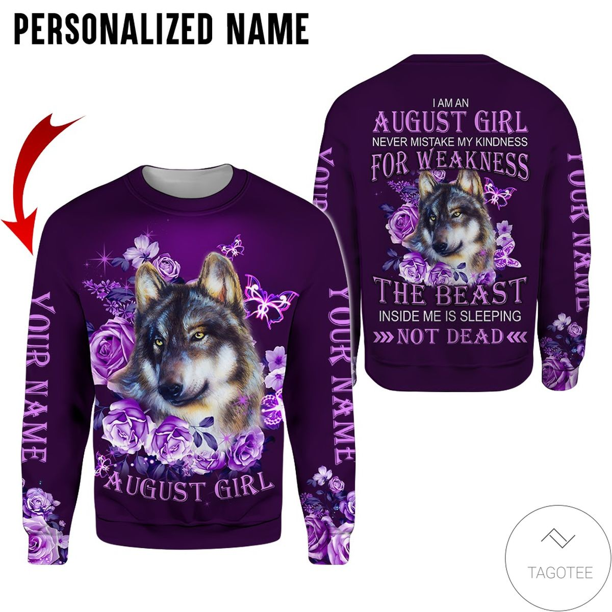New Personalized Name August Girl Wolf Purple All Over Print Hoodie
