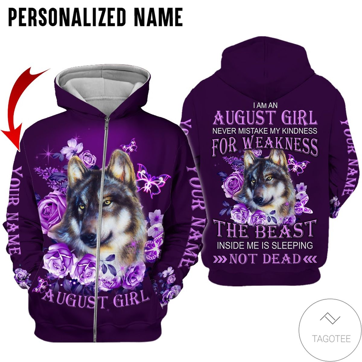 Present Personalized Name August Girl Wolf Purple All Over Print Hoodie