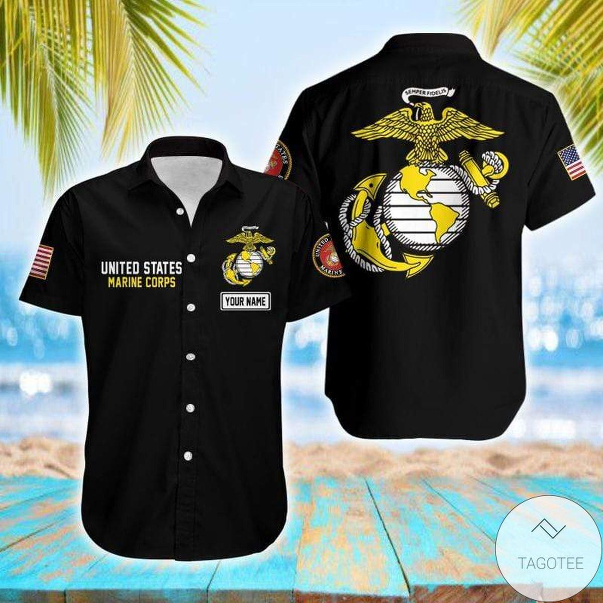 Personalized Name Black Us Marine Corps Unisex Hawaiian Shirt