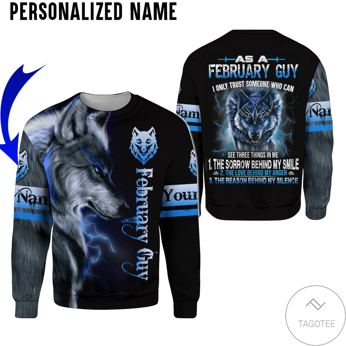 Free Personalized Name February Guy Wolf All Over Print Hoodie