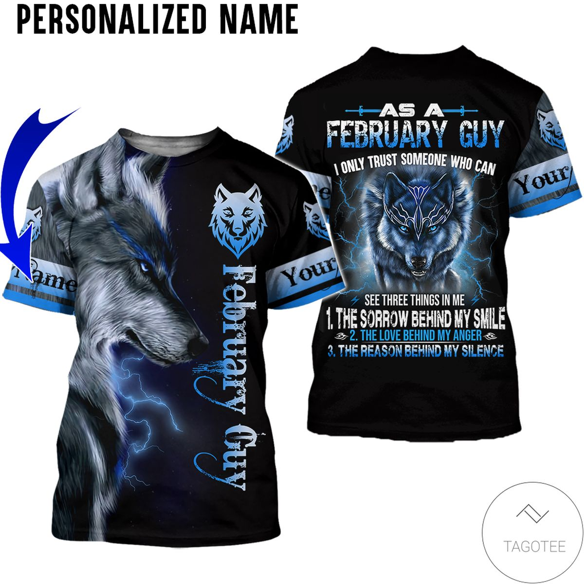 Beautiful Personalized Name February Guy Wolf All Over Print Hoodie