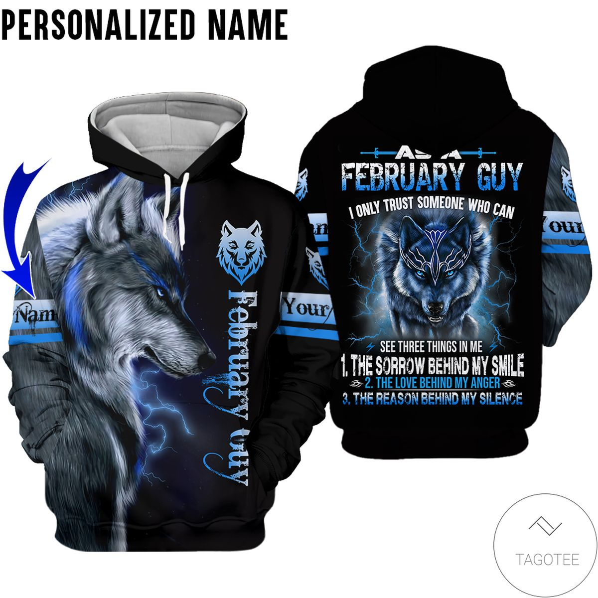 Only For Fan Personalized Name February Guy Wolf All Over Print Hoodie