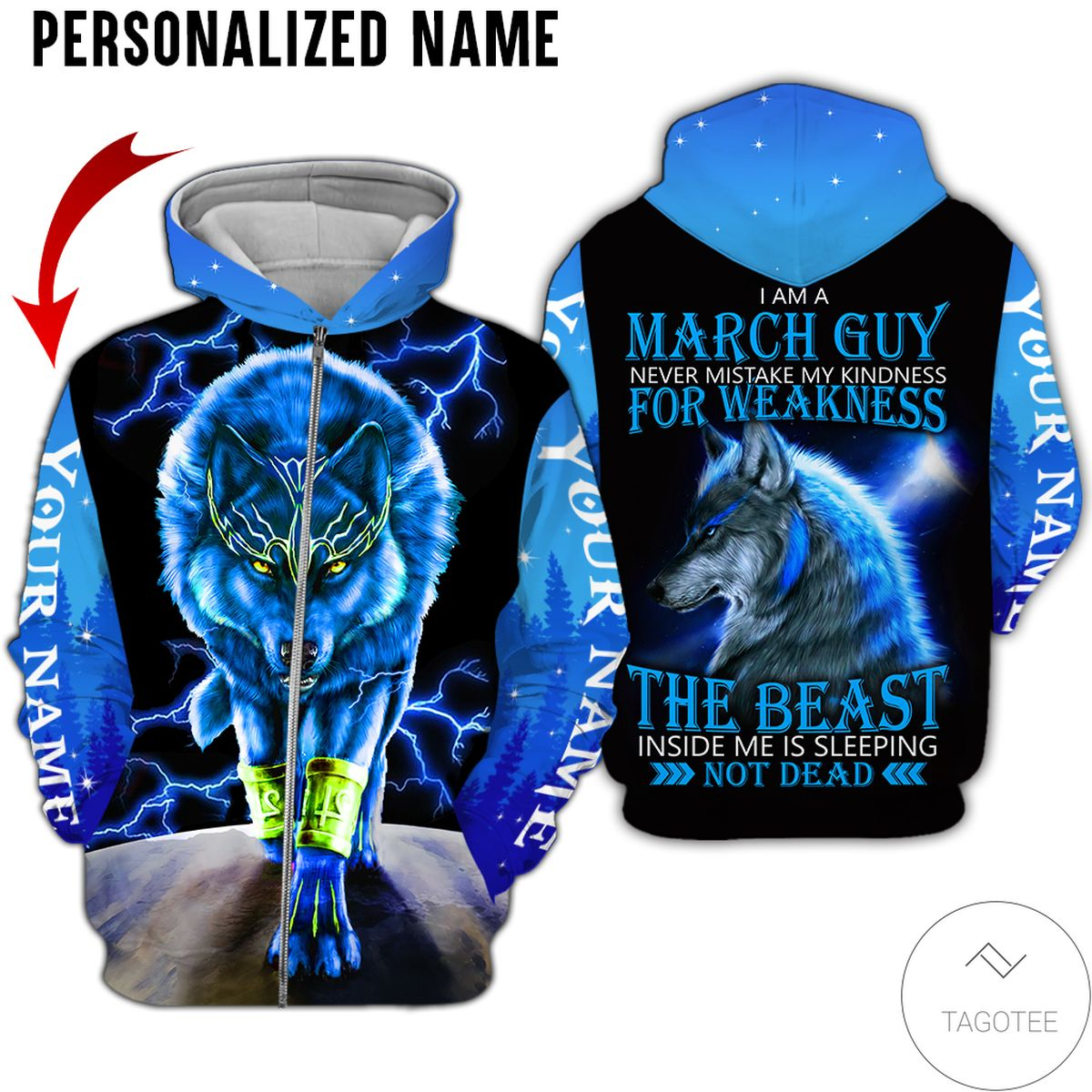 Awesome Personalized Name I'm A March Guy Never Mistake My Kindness For Weakness Wolf All Over Print Hoodie