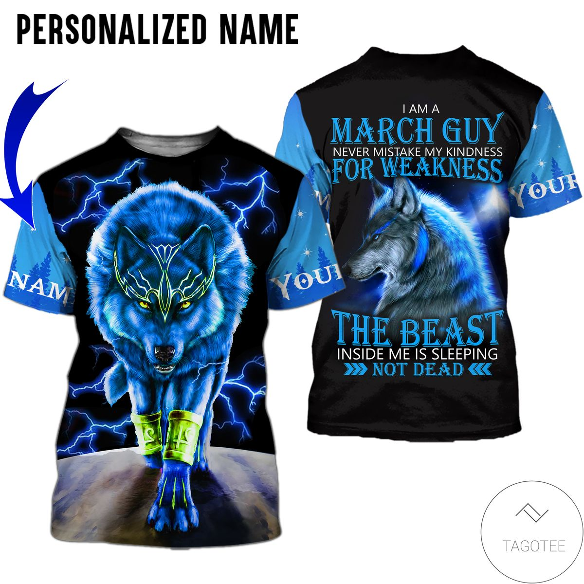 Personalized Name I'm A March Guy Never Mistake My Kindness For Weakness Wolf All Over Print Hoodiez