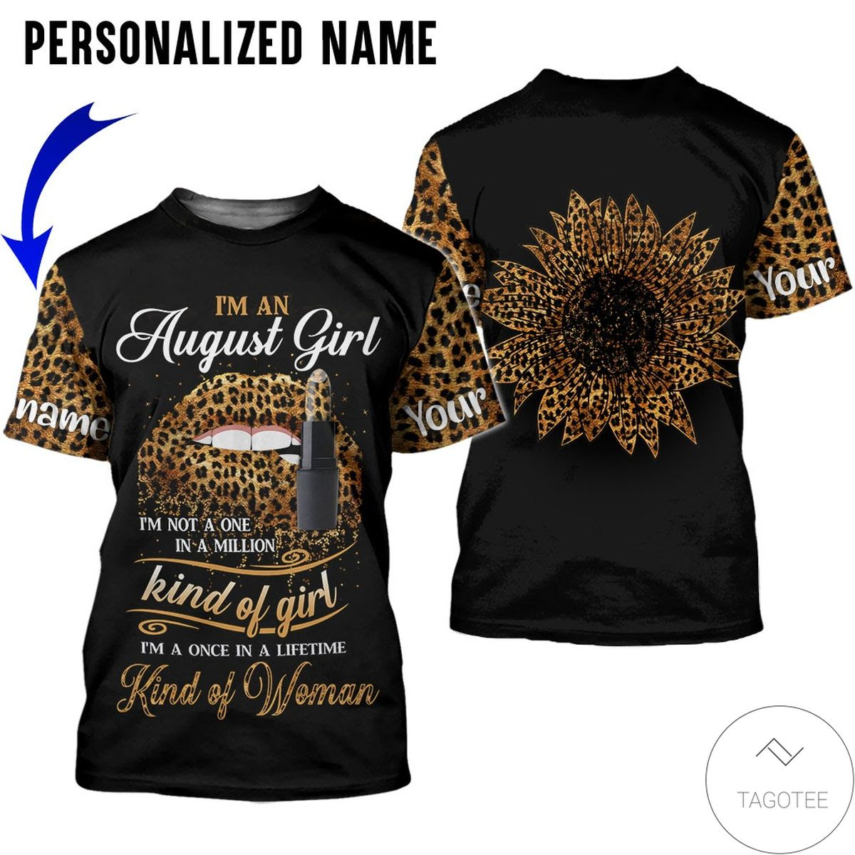 Personalized Name I'm August Girl Kind Of Girl All Over Print Hoodiex